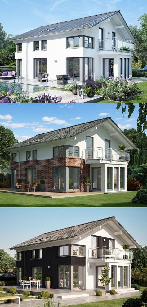 Fassadengestaltung Einfamilienhaus mit Satteldach Fassade