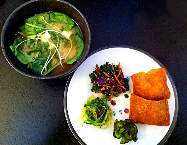 miso soup with tofu, spinach, radish sprouts. seaweed ...