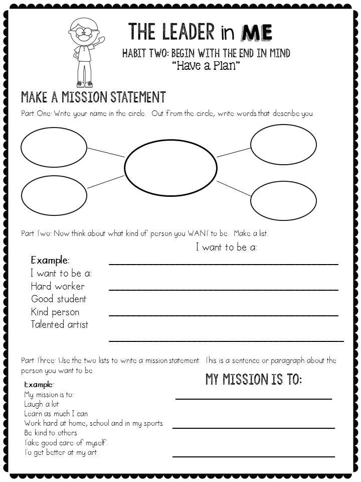The Leader in Me The 7 Habits of Happy Kids - Reflection Pages - artist statement template