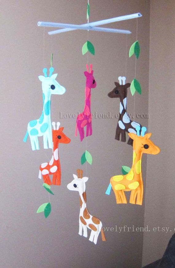 Baby Crib Mobile Neutral Decorative Colorful Giraffes Friends Pick Your Color