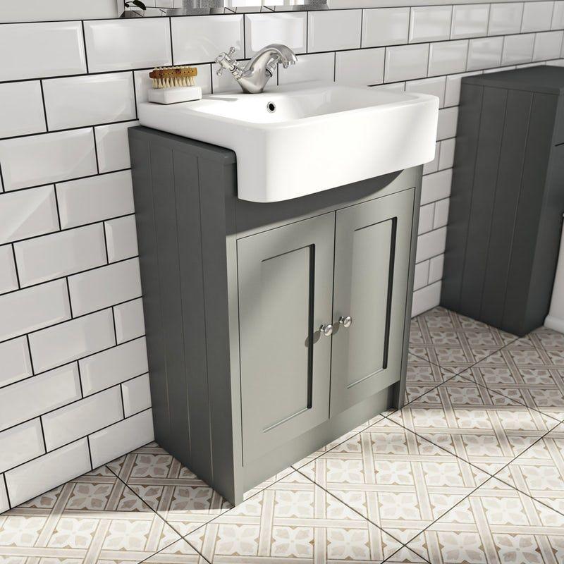The Bath Co Dulwich Stone Grey Semi Recessed Vanity With Basin 600mm Semi Recessed Basin Vanity Units Fitted Bathroom