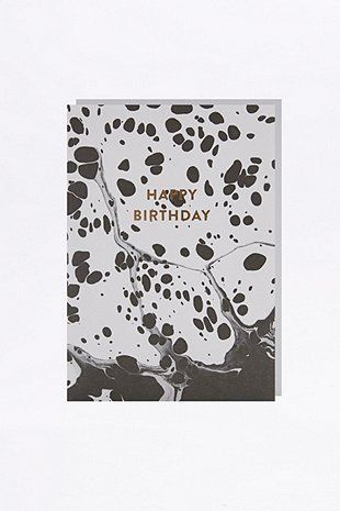 Geburtstagskarte in Schwarz-Weiß mit Marmorprint