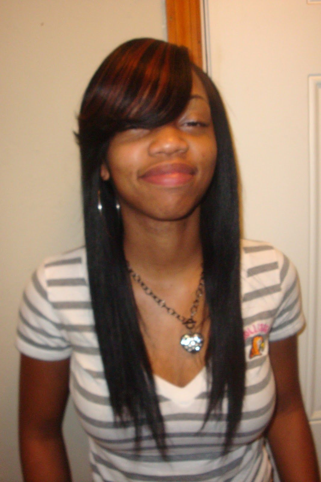 Straight Sew In Hairstyles With Side Bangs