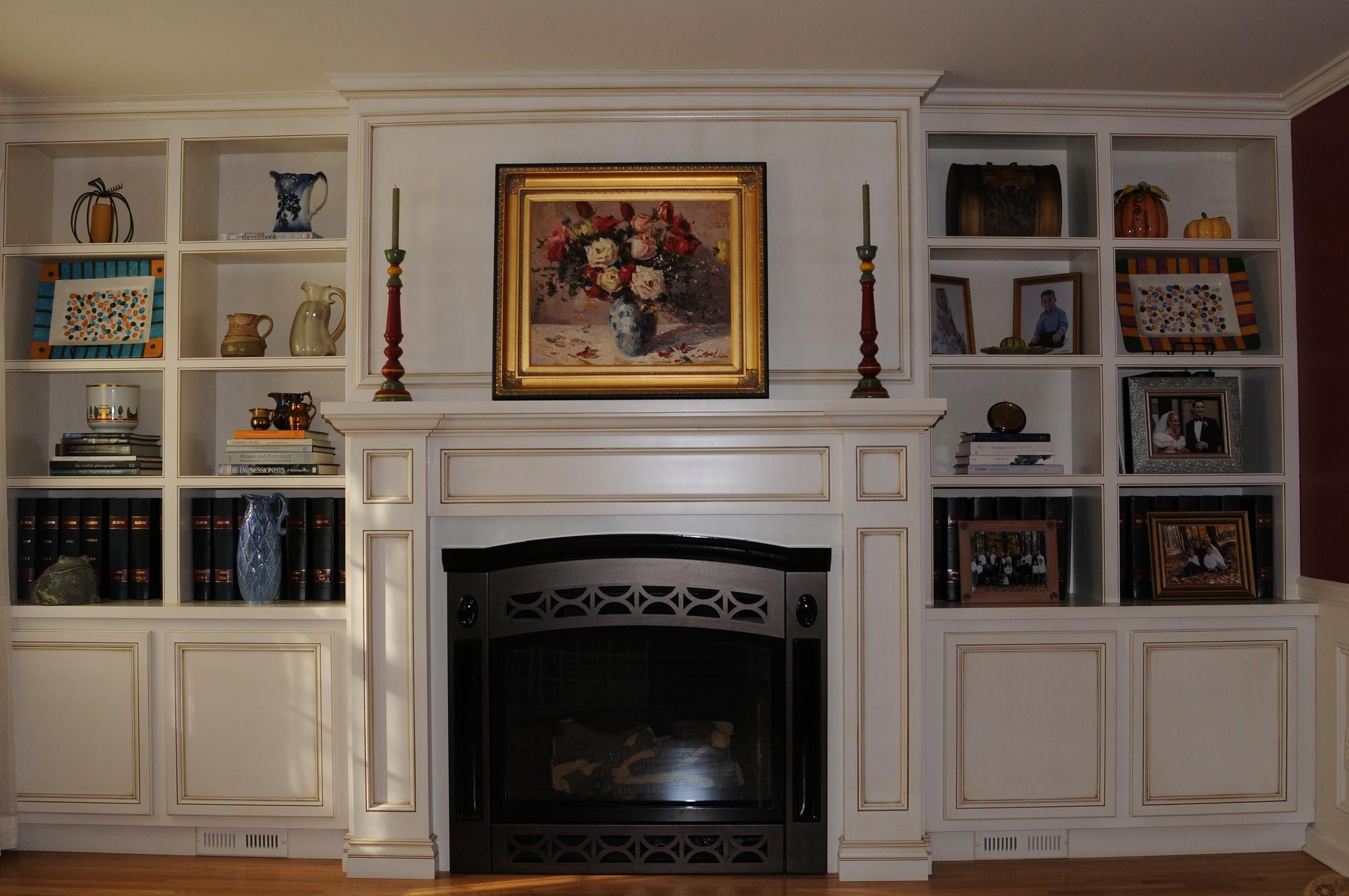Furniture the built in shelving around fireplace to give you a