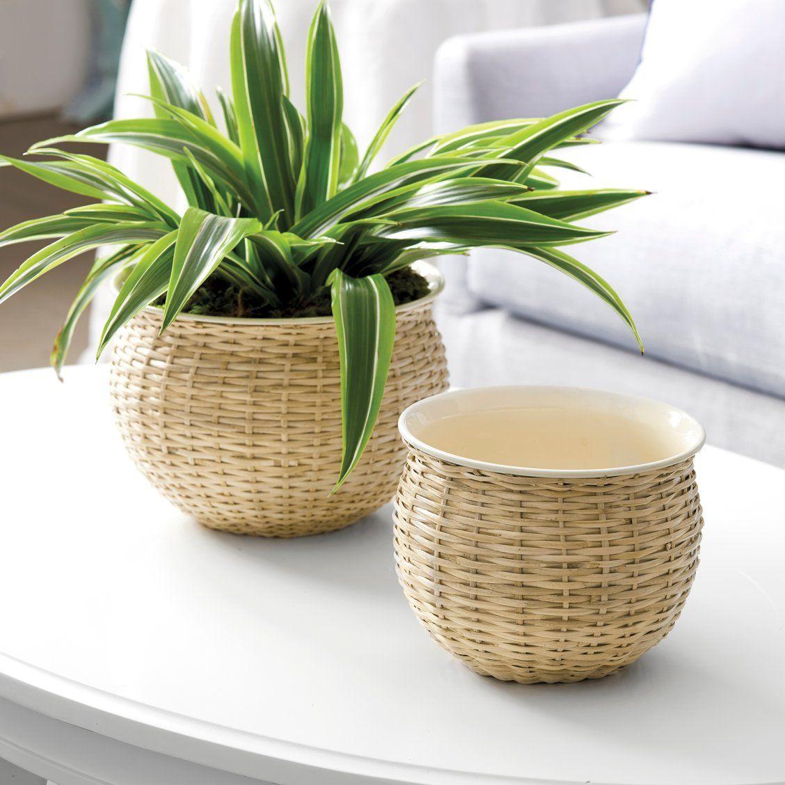 Enamel Wicker Pots Set Of 2 Pot Sets Trending Decor Home Decor Styles