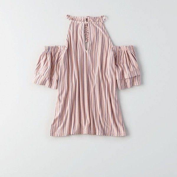 AE Soft & Sexy Keyhole Cold Shoulder Top ($30) ❤ liked on Polyvore featuring tops, pink, open shoulder tops, ruffle sleeve top, cold shoulder tops, key hole top and cut-out shoulder tops