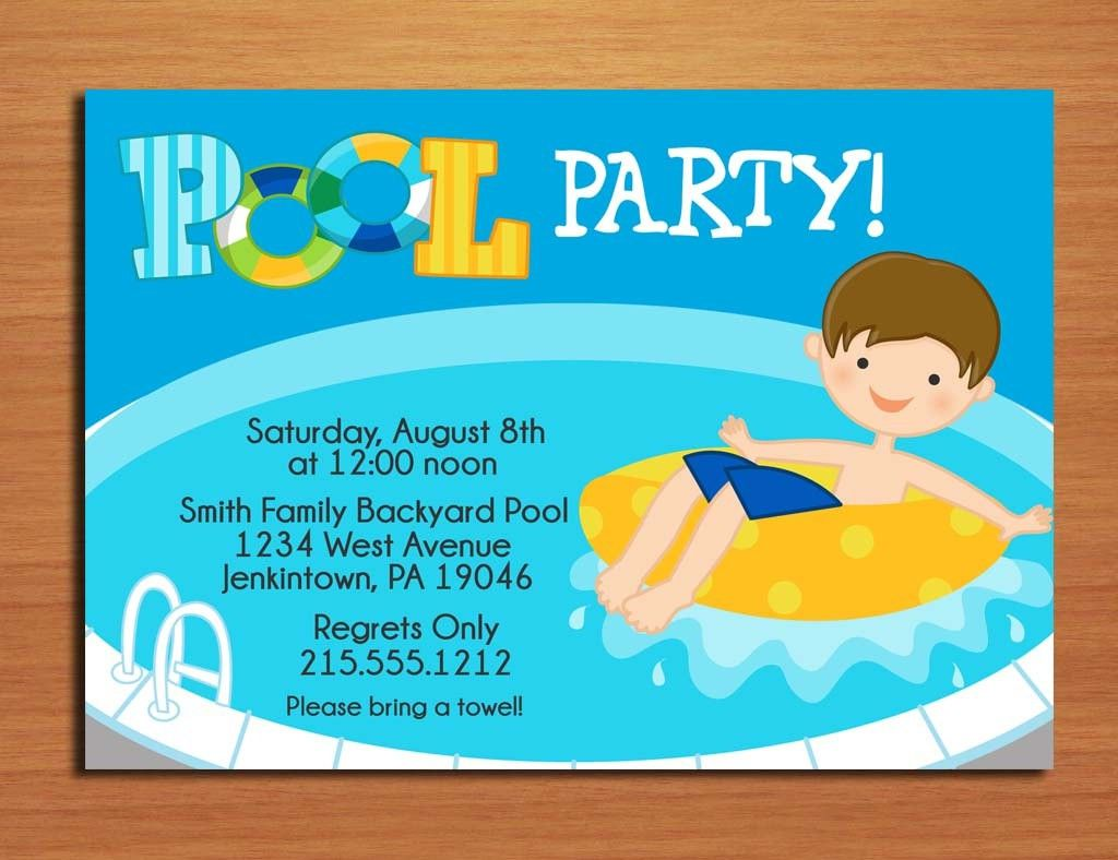 free printable pool party invitations for kids | progetti da, Birthday invitations