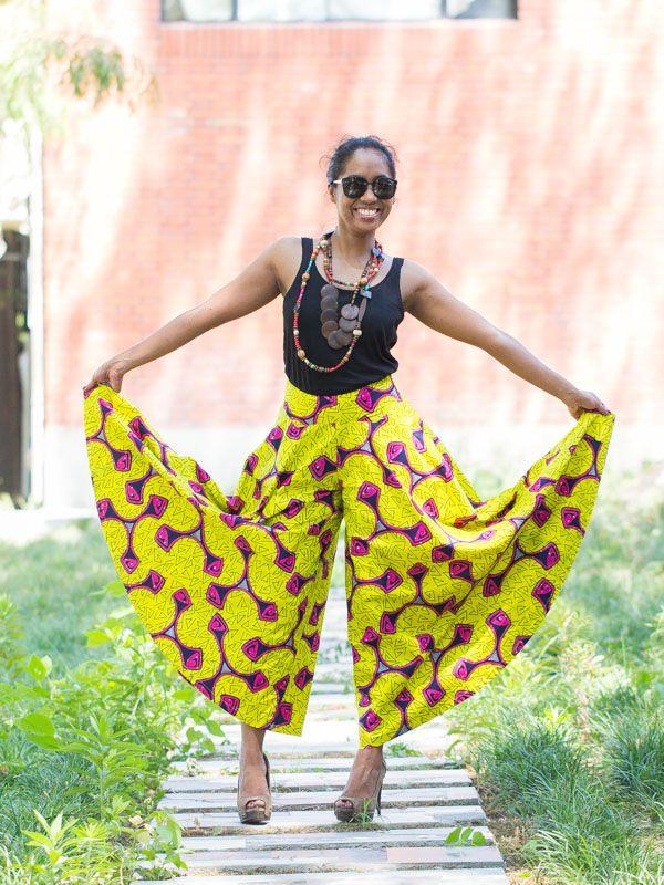 pantalon large effet jupe pour femme en pagne wax africain en coton cs001 african outfits. Black Bedroom Furniture Sets. Home Design Ideas