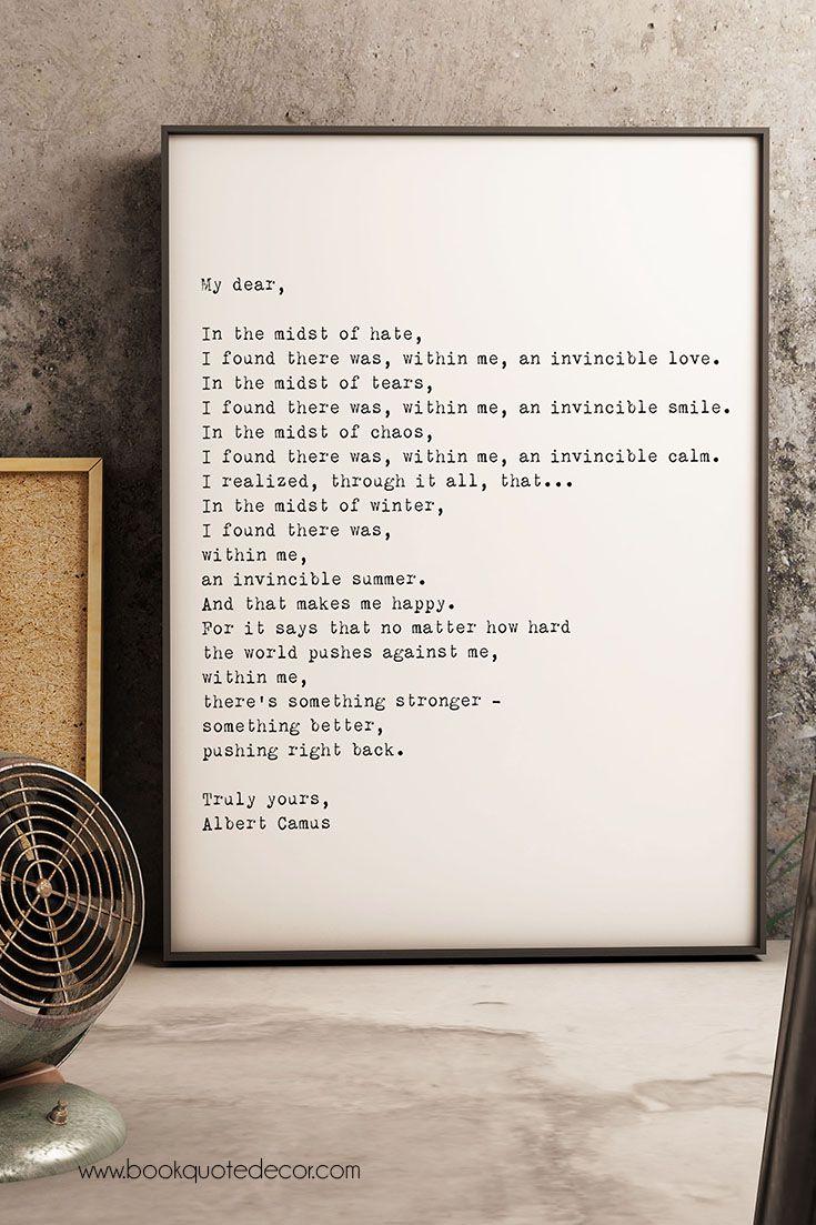 Minimalist Albert Camus Invincible Summer quote framed