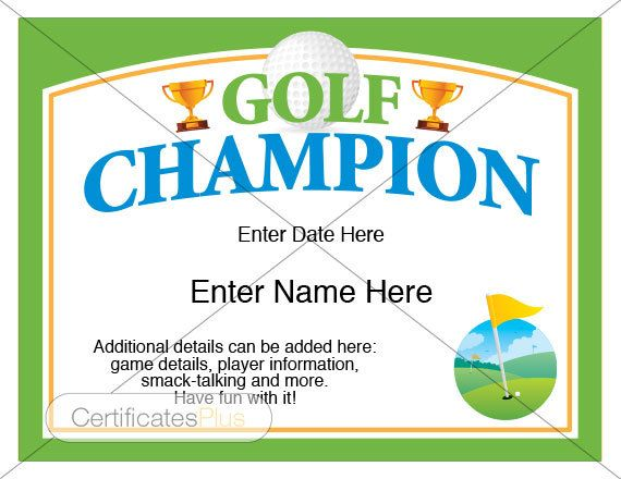Golf Certificate Golf Award Template Golf Trophy Fathers Day