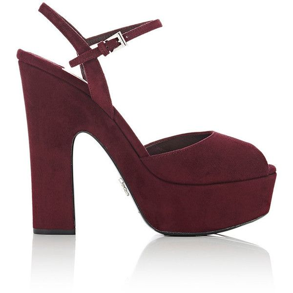 ae087142d11 Prada Women s Ankle-Strap Platform Sandals (7.495 ARS) ❤ liked on Polyvore  featuring. Chunky Heel ...