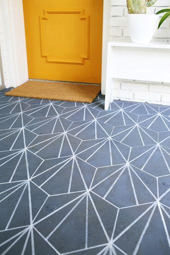 Faux Cement Tile Diy Painting Concrete Flooring Painted Concrete Floors