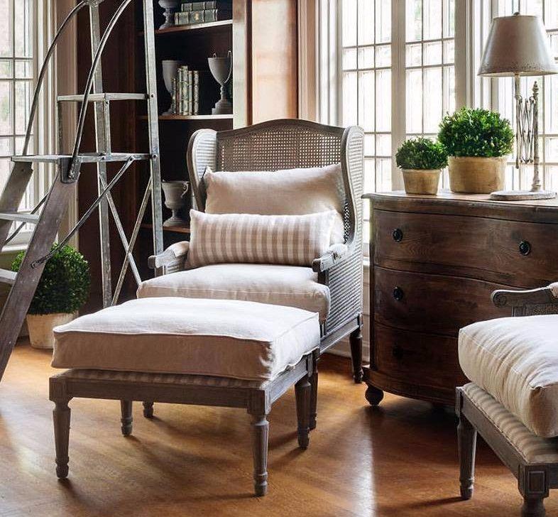 Cane Wingback Lounge Chair & Ottoman Chair, ottoman