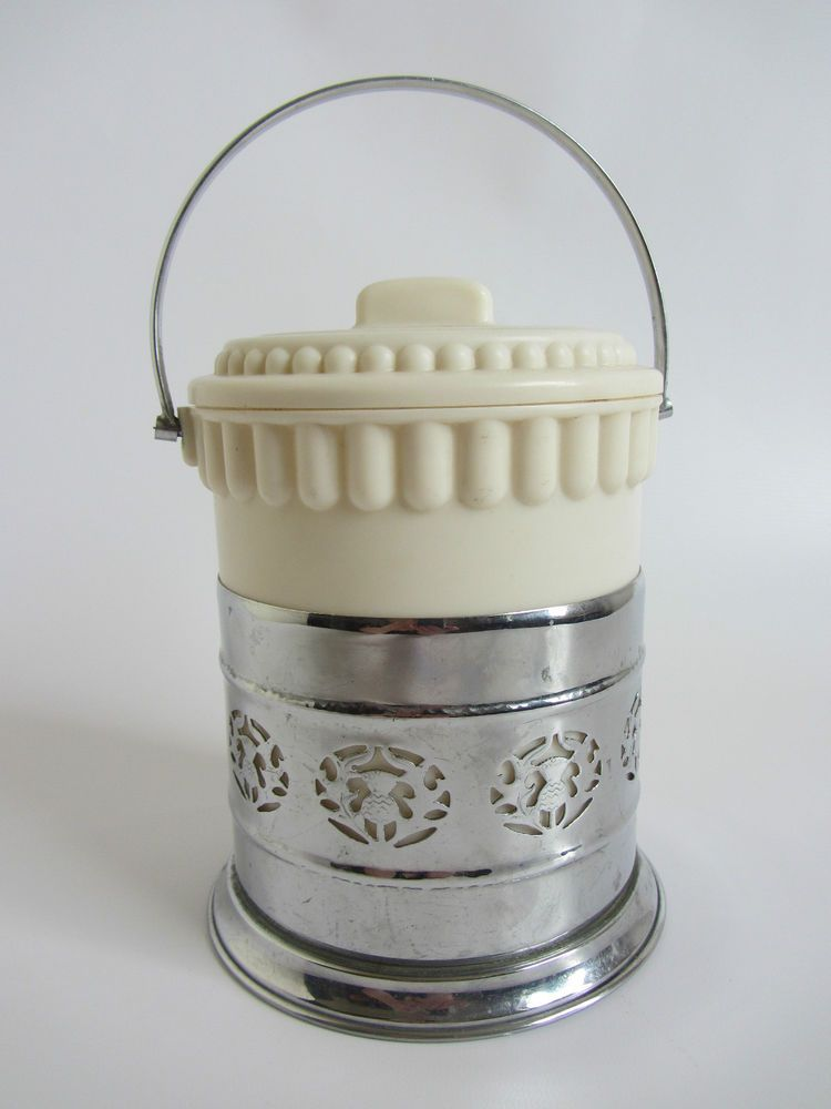 Vintage cream chrome deco 1930s ice / biscuit barrel bucket collectible 40s ?