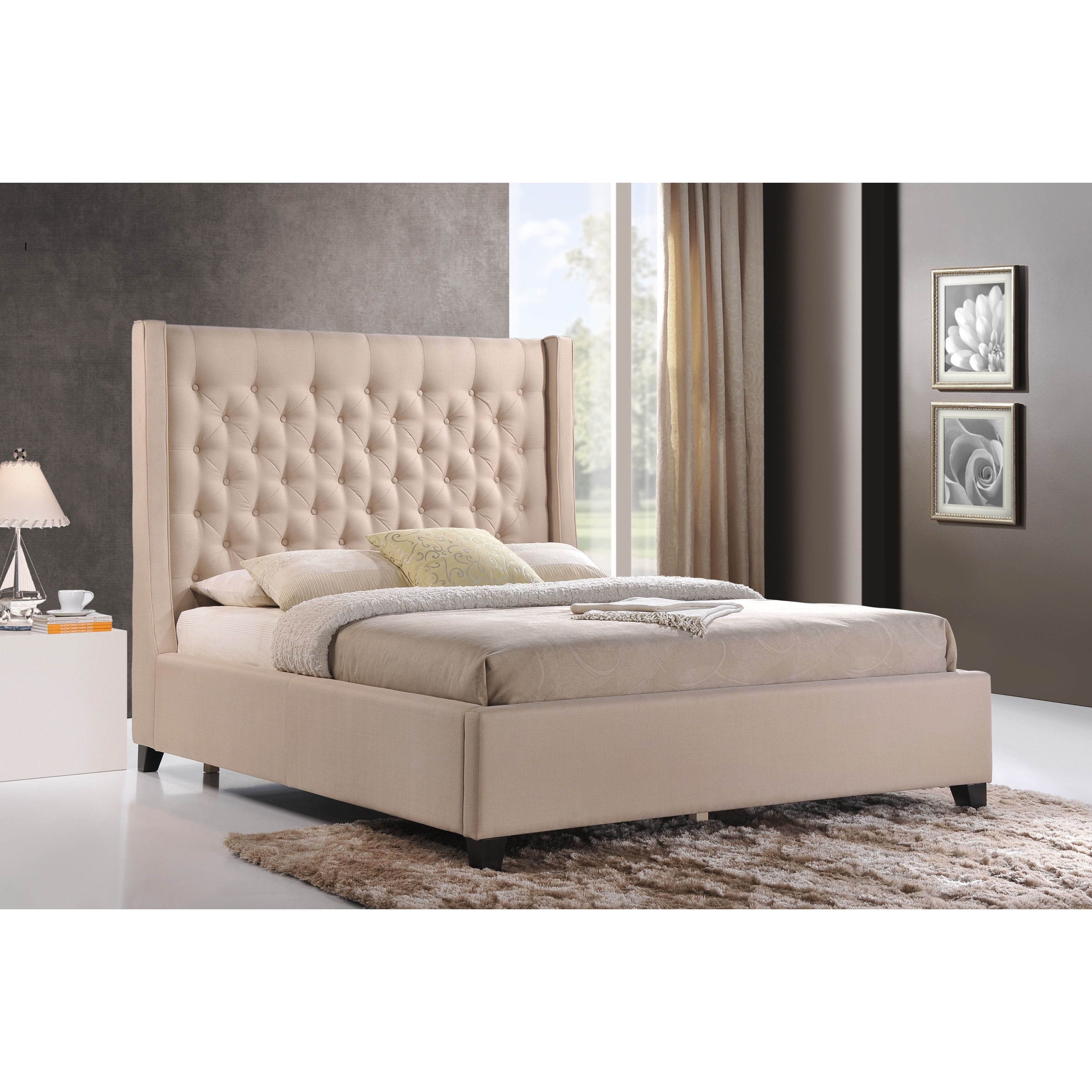 Luxeo Huntington Queen Size Tufted Upholstered Bed In Sand Color Fabric Beige