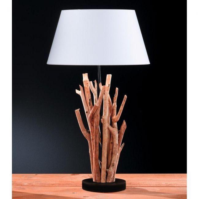 details zu 60cm tischlampe aus treibholz im shabby chic stil lampe leuchte aus holz vintage. Black Bedroom Furniture Sets. Home Design Ideas