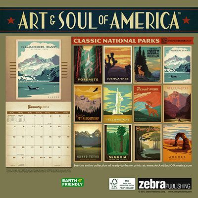 National Parks Vintage Travel Posters 2014 Wall Calendar Vintage Travel Posters National Parks Travel Posters