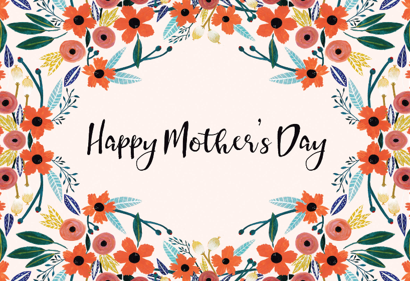 Orange Floral Mother S Day Card Free Greetings Island Mothers Day Card Template Valentines Day Card Templates Happy Anniversary Cards