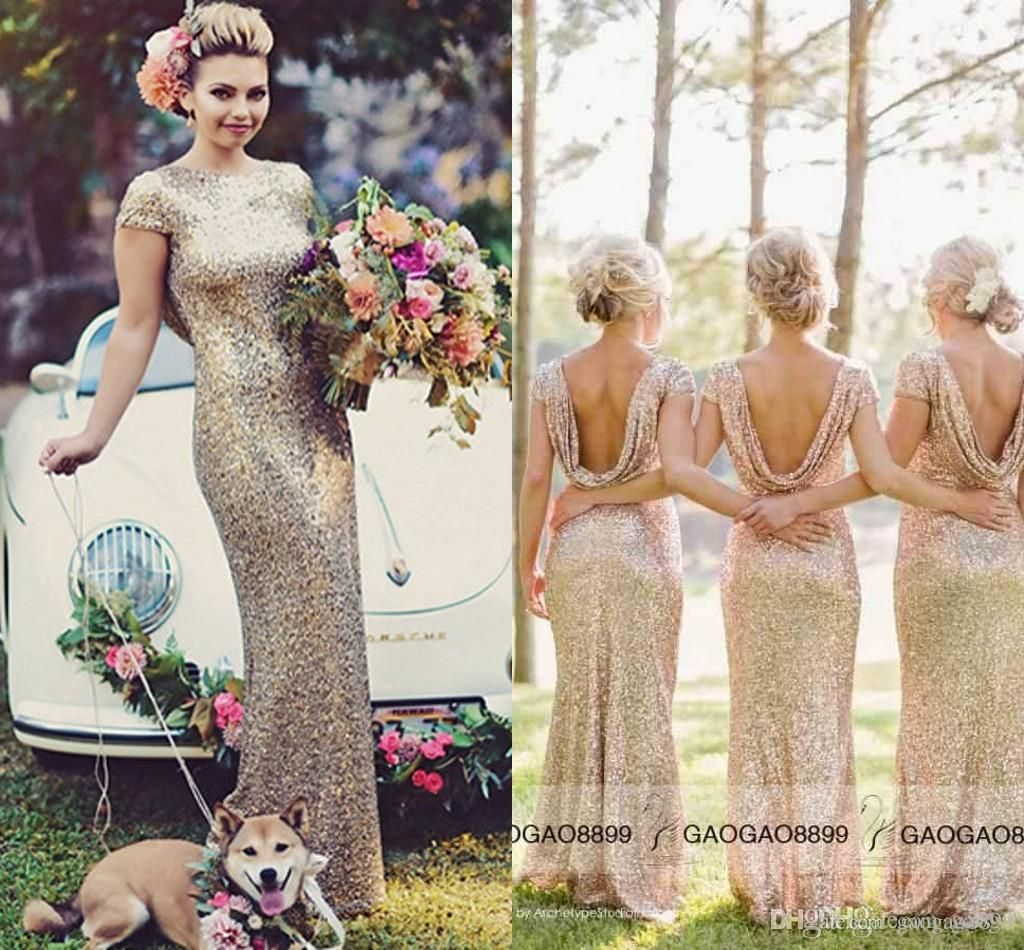 Cheap bling bling champagne bridesmaid dresses backless floor cheap bling bling champagne bridesmaid dresses backless floor length short sleeve cowls back wedding maid of honor evening gowns 2016 as low as 7036 ombrellifo Image collections