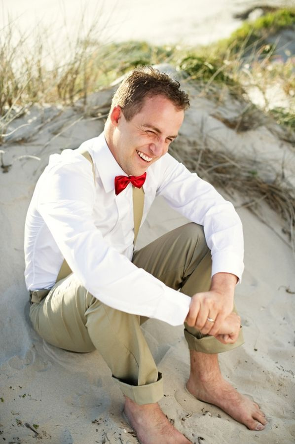 Suspender Red Bow Tie Khaki Bare Feet Groom Beach Wedding