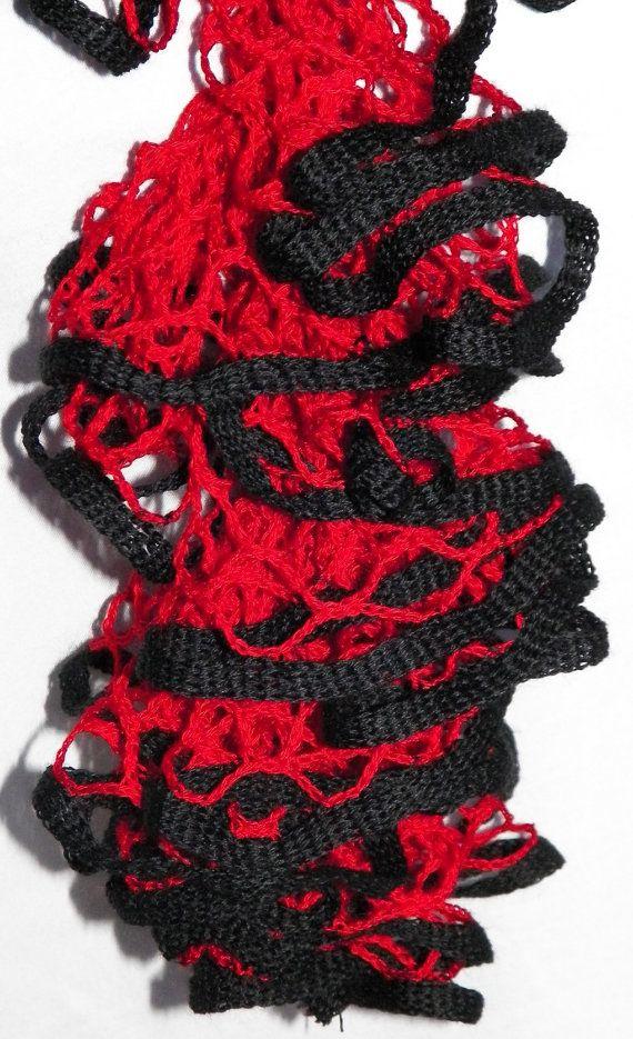 Hotshot - Crochet Ruffle Scarf - Starbella Scarf - Red and Black ...