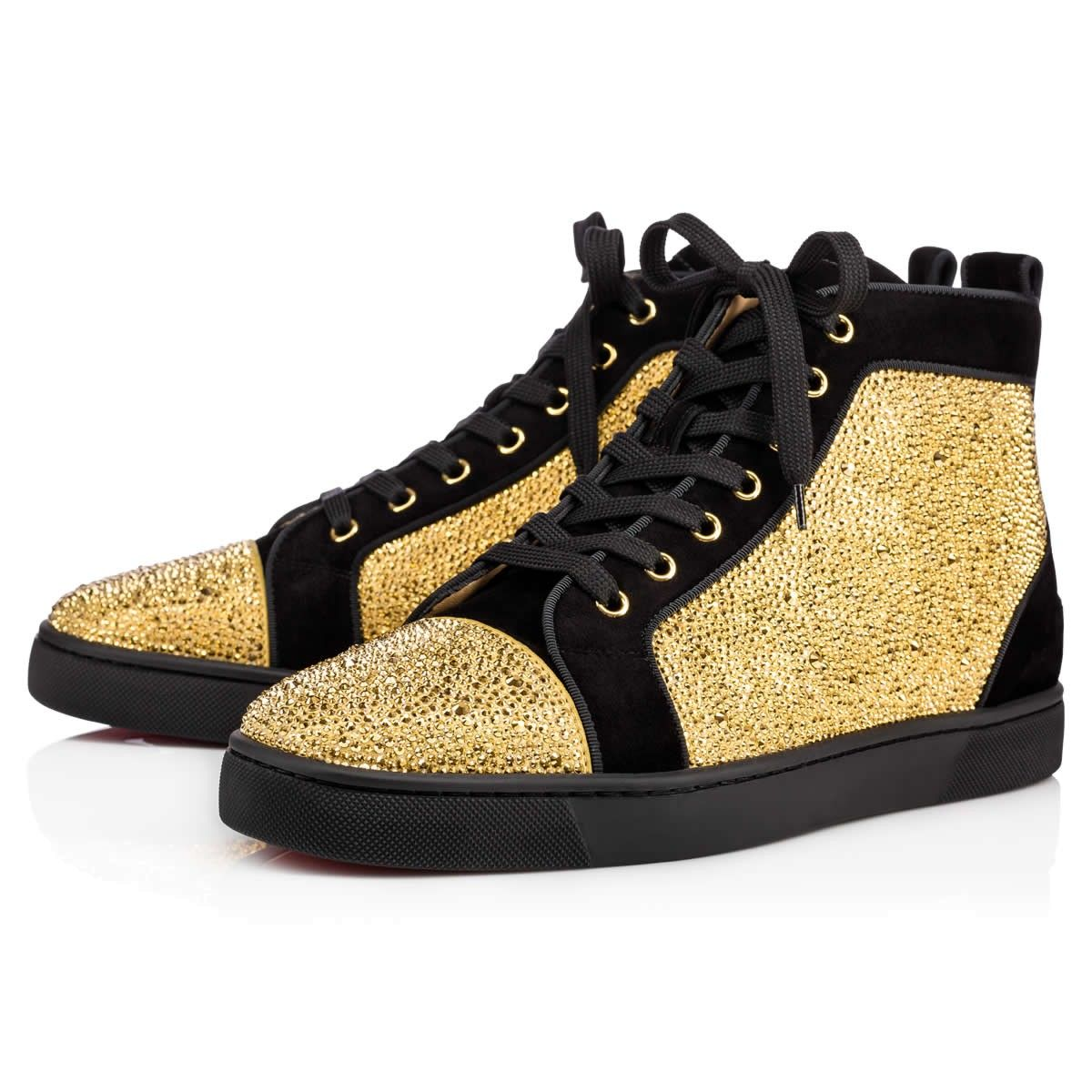 Christian Louboutin Louis Strass Flat Suede Black Gold Christian