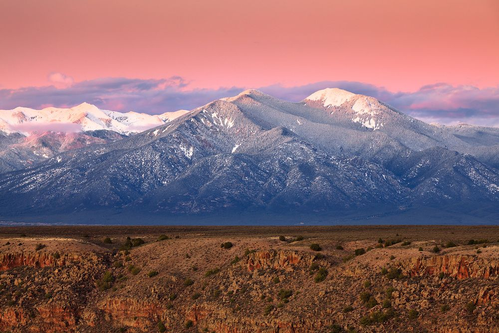 Snowy Sunset on Taos Mountain | Adam Schallau Photography | New mexico,  Scenic photos, Land of enchantment