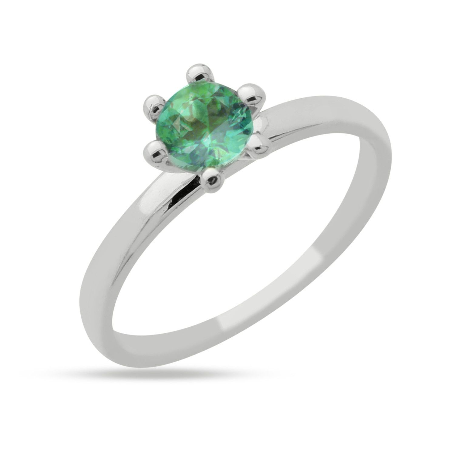 925 Sterling Silver CZ Ring Round Simulated Aquamarine Solitaire Ring