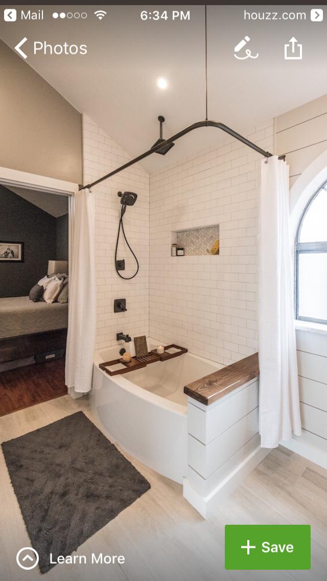 Shower Curtain And Half Wall Bathrooms Remodel Bathtub Remodel