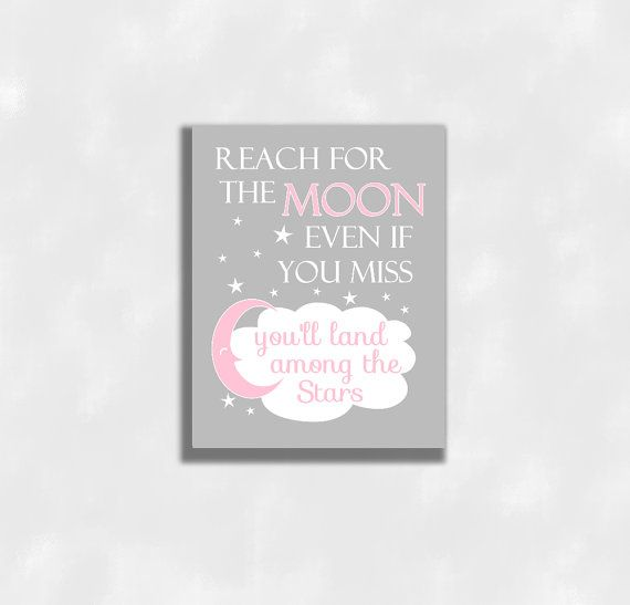 Pink Baby Girl Nursery Wall Art Canvas Prints Reach For The  sc 1 st  Pinterest & CANVAS Pink Baby Girl Nursery Wall ArtPrints Reach For The Moon ...