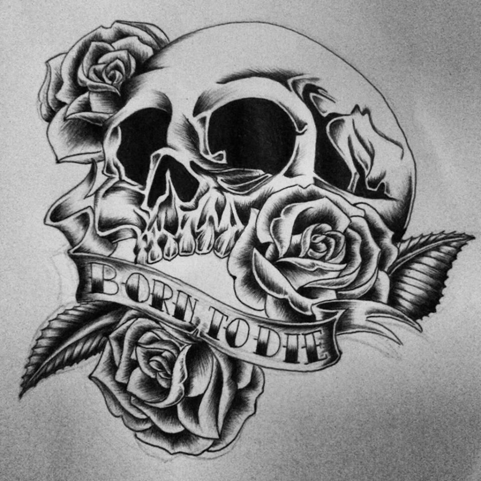 tattoo design old school skull with roses my works pinterest tattoo designs tattoo and. Black Bedroom Furniture Sets. Home Design Ideas
