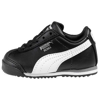Details about PUMA Roma Black, White, Silver Toddler Kids Sneakers Tennis Shoes 354260 01