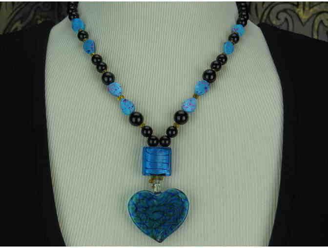 1/KIND Necklace features Genuine Black Onyx & Unique Lamp work Glass Pendant!