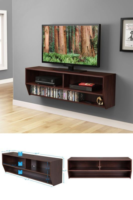 Wall Mounted Tv Stand Audio Video Wood Console Cd Storage Modern  Entertainment #Fitueyes#TV