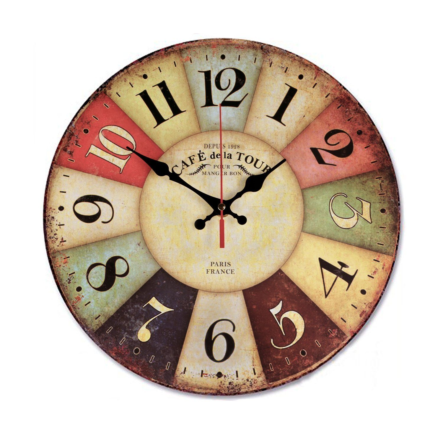 AmazonSmile: Wood Wall Clock, NALAKUVARA Vintage Colorful France ...