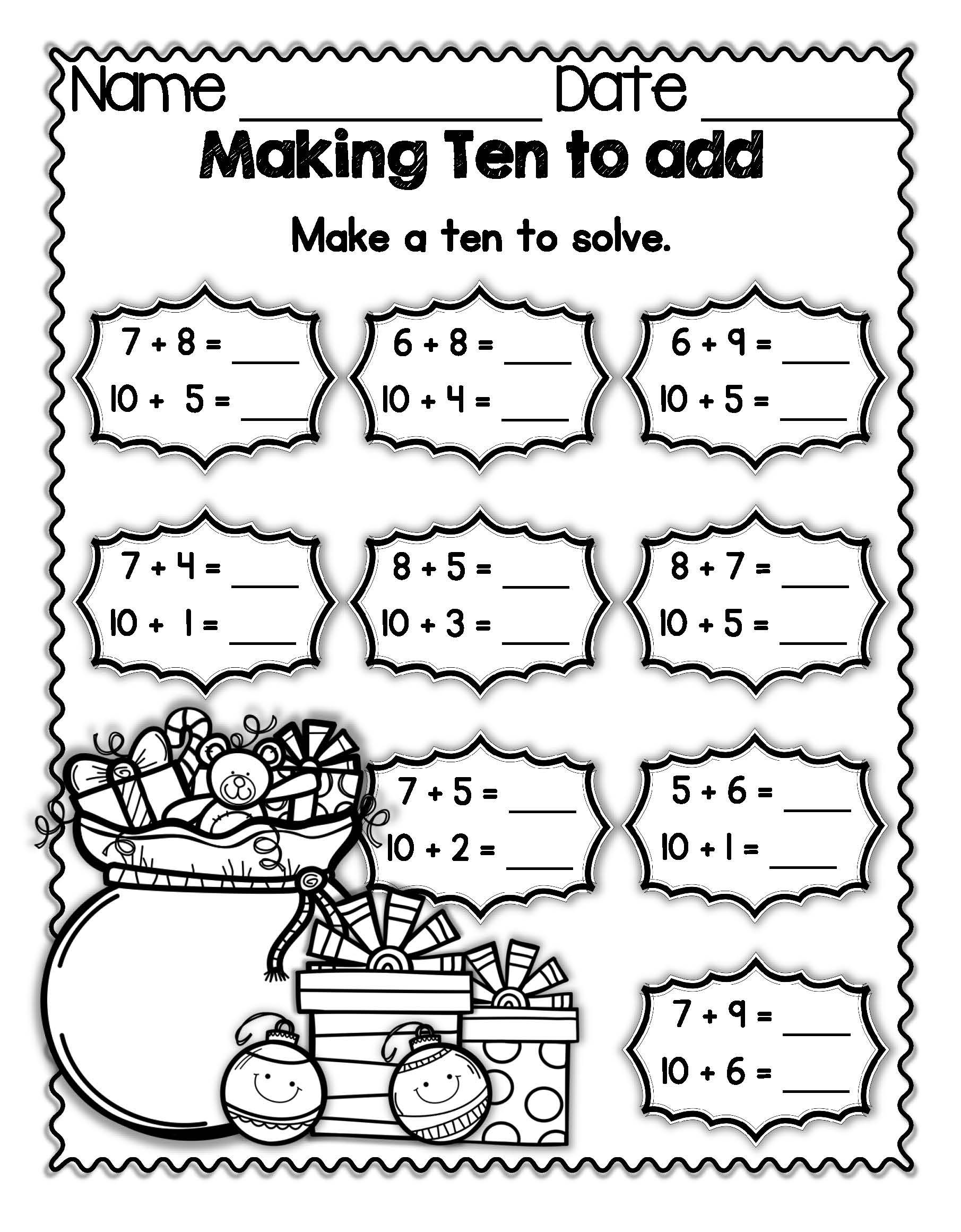 "Holiday FREEBIE: Students ""make ten"" by breaking apart a smaller number and  then…   Kindergarten math review worksheets [ 2321 x 1811 Pixel ]"
