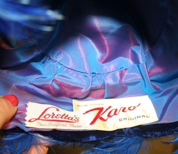 40s Karo Original Blue Feather Velvet Hat by MorningGlorious, $55.00