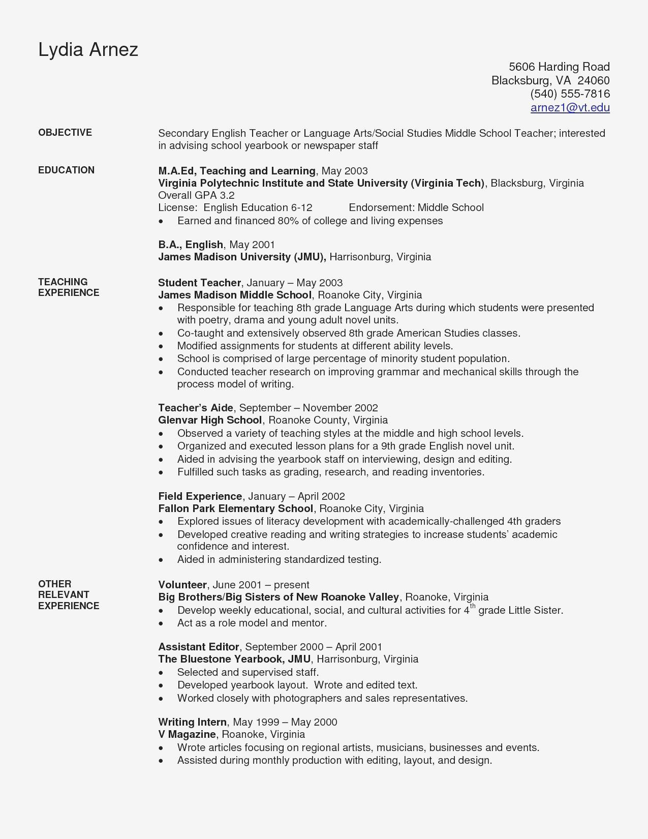 Resume Objective For College Student Inspirational Sample