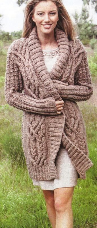 Knitting Pattern Ladies Chunky Aran Cardigan Coat Jacket One
