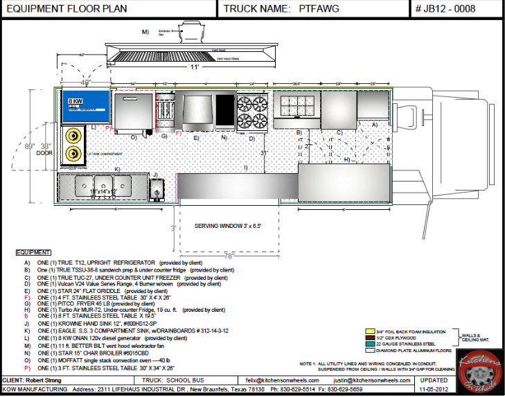 Cad equipment floor plan food trucks for sale used for Food truck design plan