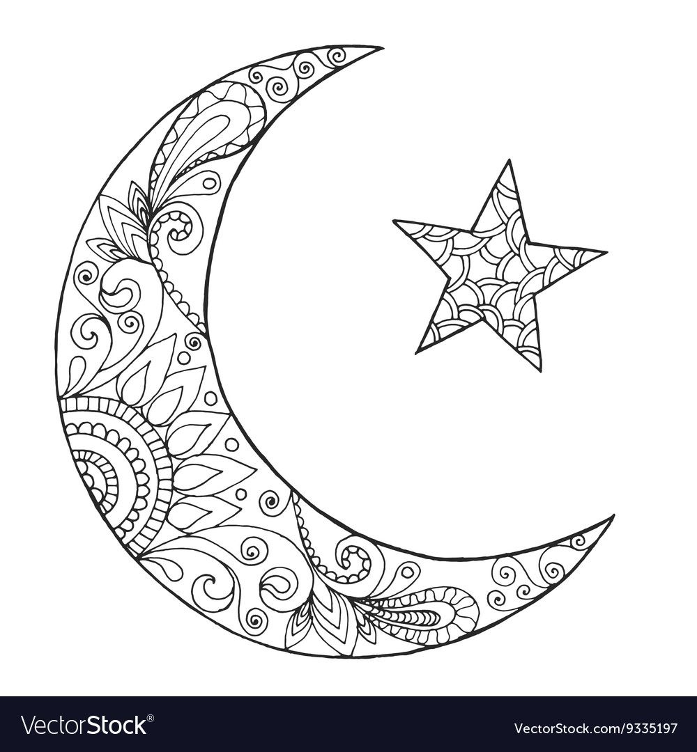 Ramadan Kareem Half Moon Vector Image On Moon Coloring Pages