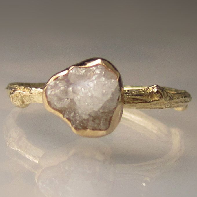 raw white diamond twig ring 14k yellow gold engagement