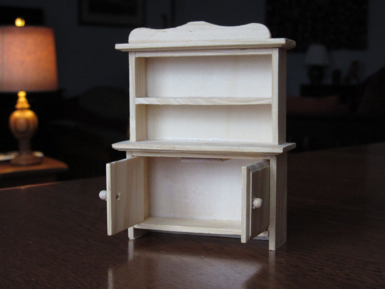 unfinished dollhouse furniture. Vintage Doll House Hutch, Unfinished Wood Dollhouse Furniture, Shelves, Cabinet, Kitchen, Rustic, Rural, Country, Colonial Furniture S