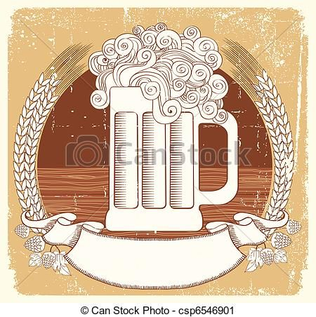 Vector Beer Symbolctor Vintage Graphic Illustration Of Glass