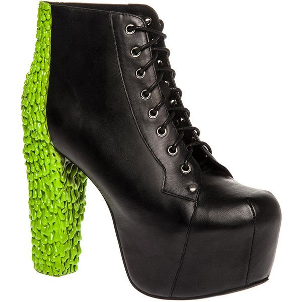 9b4ac29367cf Jeffrey Campbell The Lita Back Drip Shoe in Black Leather and Green... ( 54)  ❤ liked on Polyvore featuring shoes
