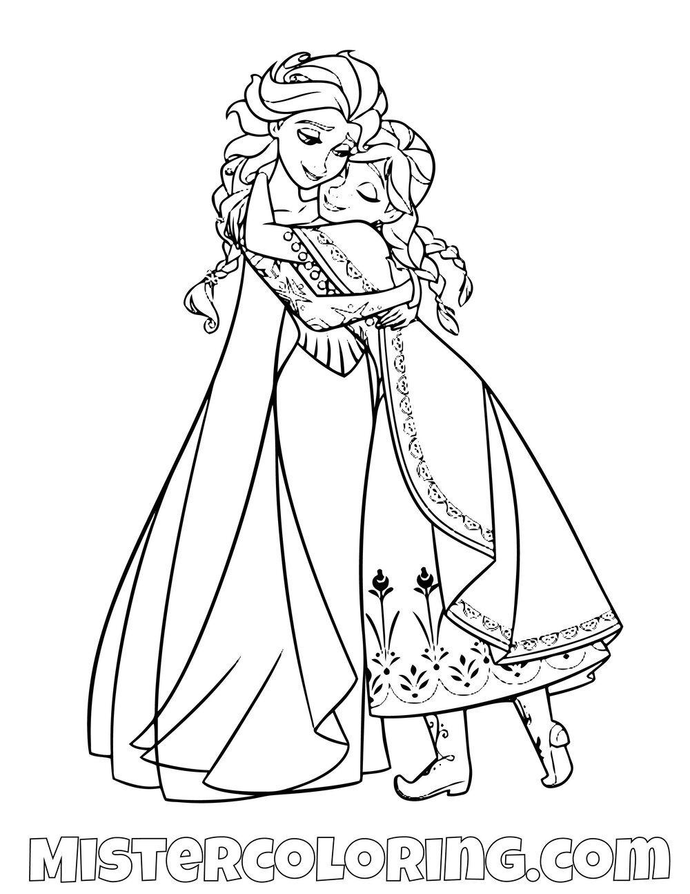 Queen Elsa And Princess Anna Hugging 2 Frozen 2 Coloring Pages For Kids Ausmalbilder Anna Und Elsa Lustige Malvorlagen Ausmalbilder Kinder
