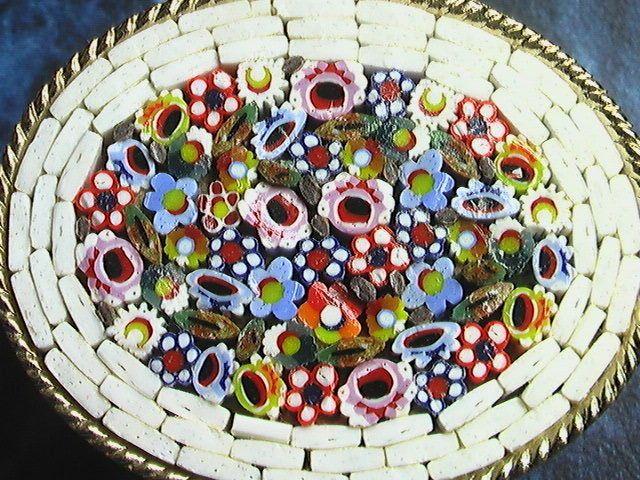 Vintage Micromosaic Box Floral Pillbox Italy
