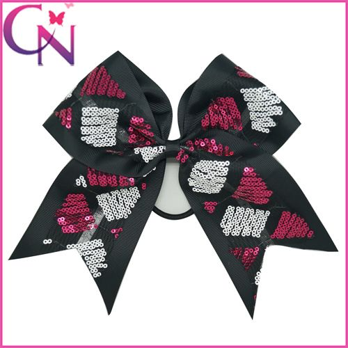 "Free Shipping 12Pcs/lot 4Colors 8"" Large Girls' Cheer Bow, Sequin Cheer Bows,Cheerleading Bow With Elastic Band ZH12-1504101"