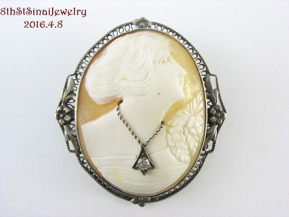 Art Deco Sterling Silver 925 CAMEO Filigree Pin Brooch Woman Necklace & Flowers #Unbranded