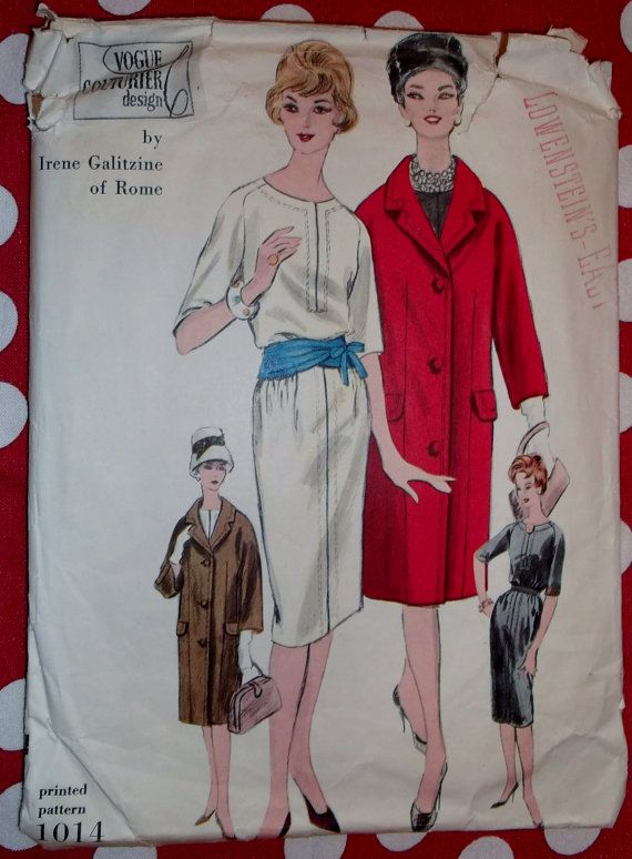 Vintage 1960 Vogue 1014 Designer Irene Galitzine Misses Dress and ...